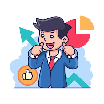 Zelfverzekerde zakenman cartoon met schattige pose. pictogram illustratie, geïsoleerd