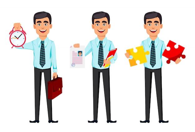 Zelfverzekerde zakenman, set van drie poses
