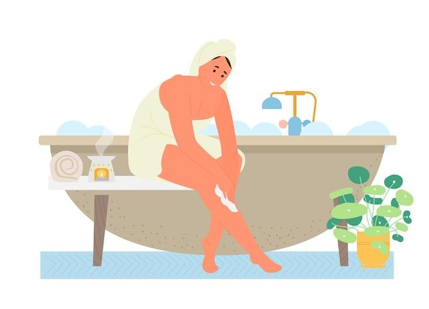 Zelfzorg en tijd voor jezelf plat. vrouw in handdoek in de badkamer zet op lichaamscrème.