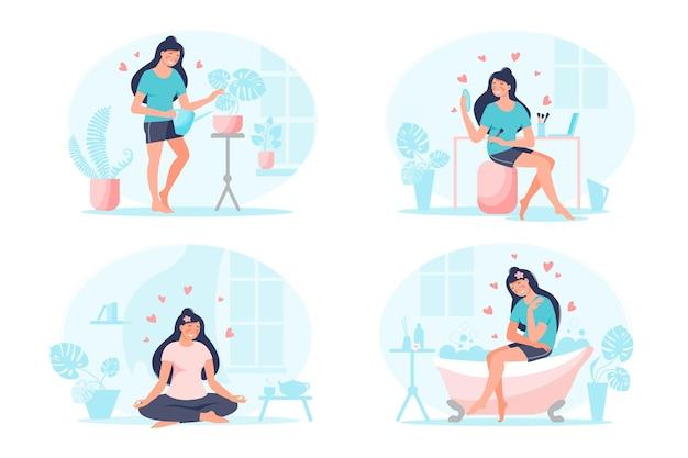 Zelfzorg, hou van jezelf concept set. motivatie om tijd voor jezelf te nemen met planten, yoga oefening, op bad, beauty maken. vector platte collectie illustratie. ontwerp voor banner, bestemmingspagina