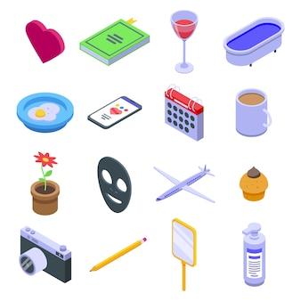 Zelfzorg iconen set, isometrische stijl