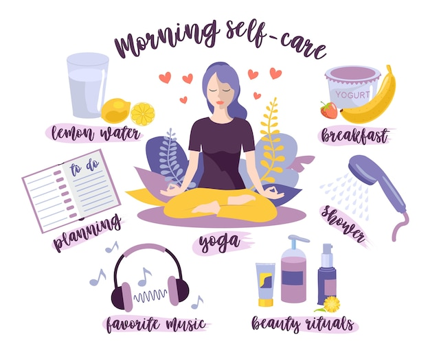 Zelfzorg in de ochtend. vrouw zelfzorg concept.