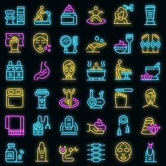 Zelfzorg pictogrammen instellen. overzicht set van zelfzorg vector iconen neon kleur op zwart