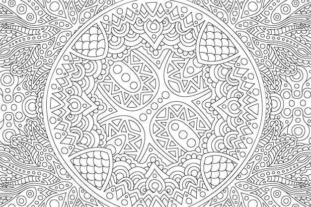 Zen-kunst met zwart-wit lineair patroon