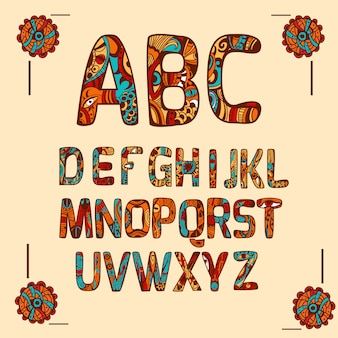 Zentangle alphabet colored