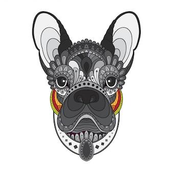 Zentangle gestileerd hoofd van franse bulldog. vectorillustratie