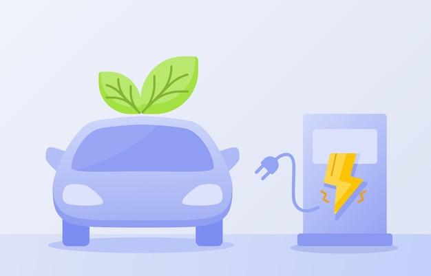 Zero-emissie voertuigconcept met elektrische auto met vlakke stijl