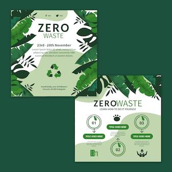 Zero waste advertentie vierkante flyer-sjabloon