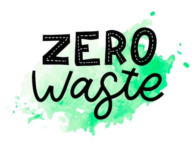 Zero waste. belettering tekst eco groene illustratie. geen afval voor concept. geen afval, milieuvriendelijk concept. illustratie van organisch afval. ecologie concept.