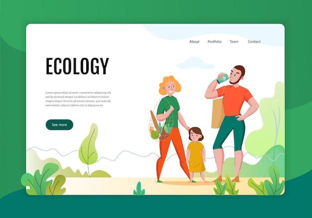 Zero waste concept platte banner webpagina met familie met behulp van milieuvriendelijke duurzame natuurlijke producten