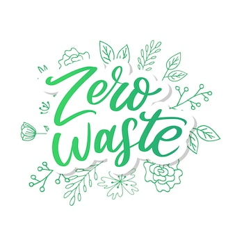 Zero waste conception green eco ecology belettering tekst