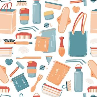 Zero waste, eco lifestyle naadloos patroon