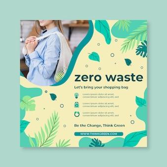Zero waste flyer vierkante ontwerpsjabloon