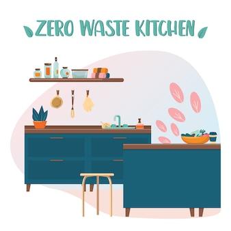 Zero waste keuken. eco-elementen voor mensen die geven om ecologie. milieuvriendelijke benodigdheden om te koken en eten.