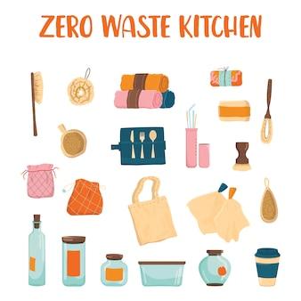 Zero waste keukenset. verzameling van eco-elementen voor mensen die geven om ecologie. milieuvriendelijke benodigdheden om te koken en eten.