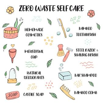 Zero waste-levensstijl. tips voor zelfzorg met handgetekende symbolen