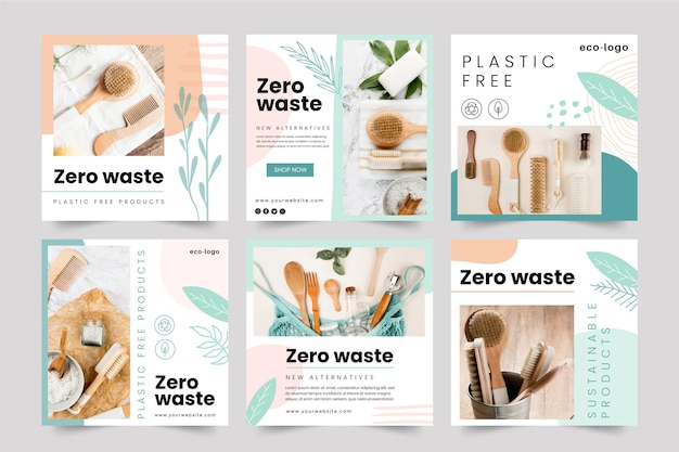 Zero waste plastic gratis producten instagram-berichten