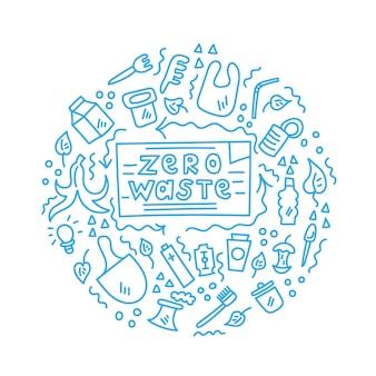Zero waste plastic ornament doodles ingeschreven cirkel
