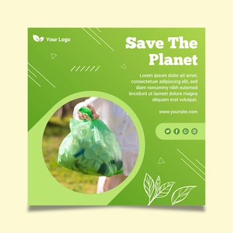 Zero waste sjabloon vierkante flyer