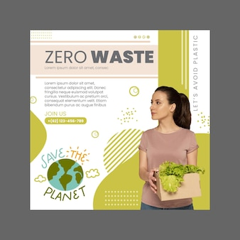 Zero waste squared flyer-sjabloon