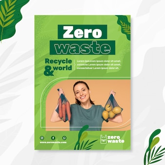 Zero waste verticale flyer-sjabloon Gratis Vector