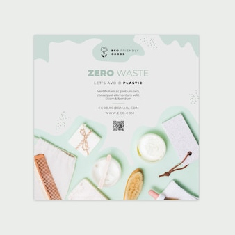 Zero waste vierkante flyer ontwerpsjabloon