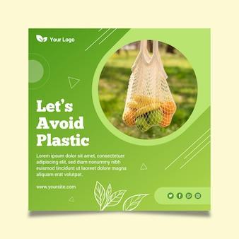 Zero waste vierkante flyer-sjabloon