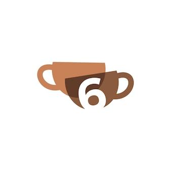 Zes 6 nummer koffiekopje overlappende kleur logo vector pictogram illustratie