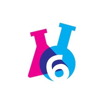 Zes 6 nummer lab laboratorium glaswerk beker logo vector pictogram illustratie