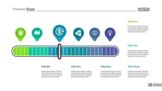 Zes aanwijzers schalen metafoor proces grafieksjabloon voor presentatie.