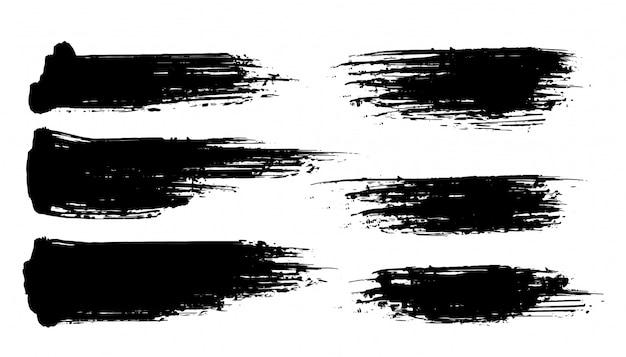 Zes abstracte geplaatste grunge penseelstreekbanners