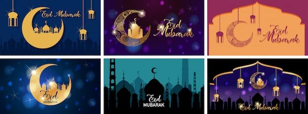 Zes achtergrondontwerpen voor moslimfestival eid mubarak