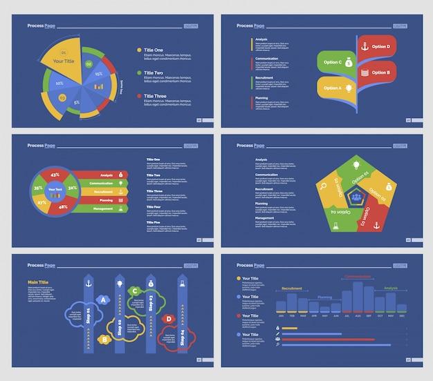 Zes analyse diagrammen slide templates set