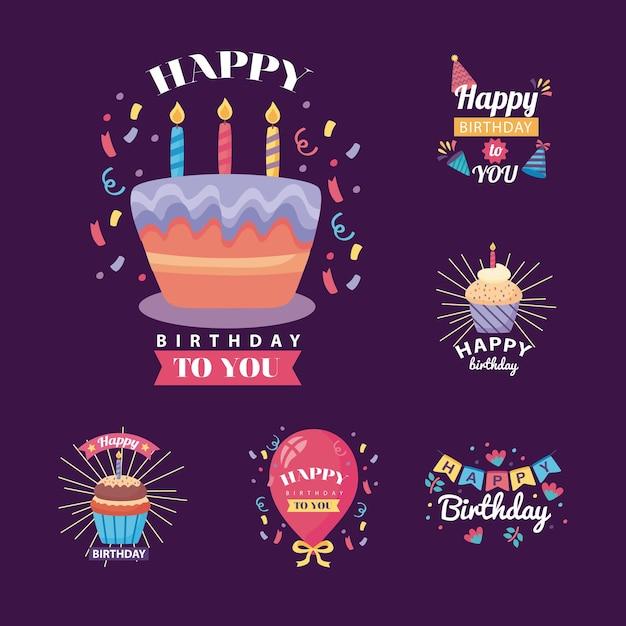 Zes badges gelukkige verjaardag met het ontwerp van de decoratieillustratie