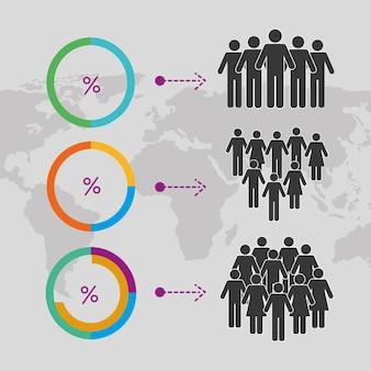 Zes bevolkingsinfographic-pictogrammen