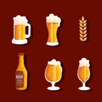 Zes bieren iconen