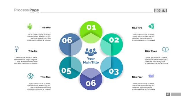 Zes cirkel stroomschema dia sjabloon. bedrijfsgegevens. grafiek, diagram