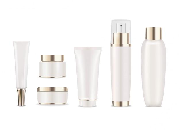 Zes cosmetische pakketten met gouden dopjes voor crème, lotion of moisturizer.