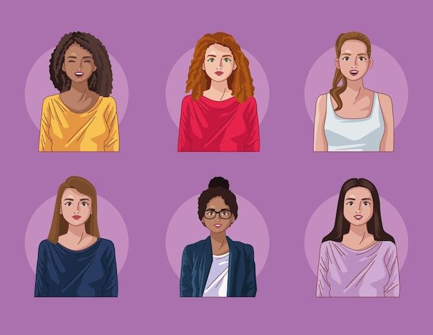 Zes diversiteitsvrouwen Premium Vector