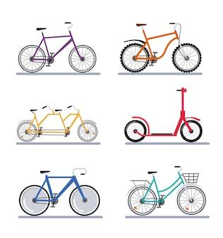 Zes fietsen voertuigen Premium Vector