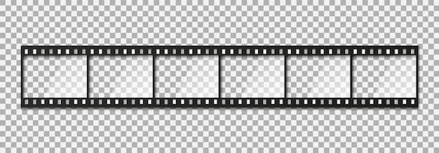 Zes frames van klassieke 35 mm filmstrook.