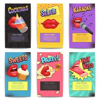 Zes geïsoleerde komische kleurrijke kleurrijke miniposters van de lippenpartij geplaatst
