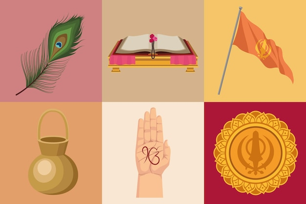 Zes goeroe nanak jayanti iconen