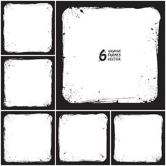 Zes grunge frames vector set
