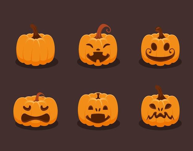 Zes halloween decoratieve pompoenen