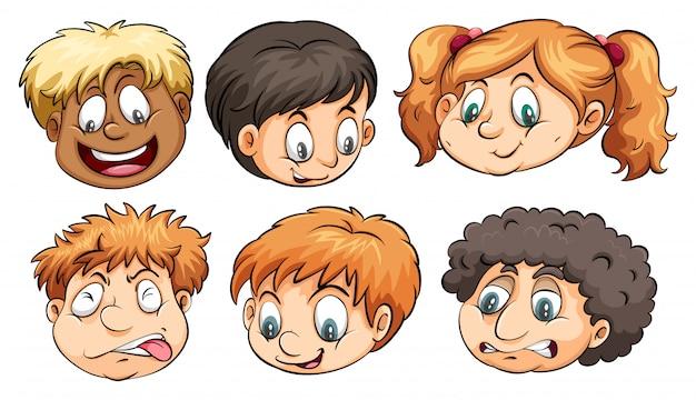Zes hoofden met verschillende emoties
