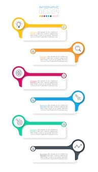 Zes horizontale infographicsbar.