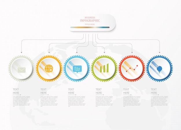 Zes infographic cirkels en pictogrammen voor bedrijfsconcept.