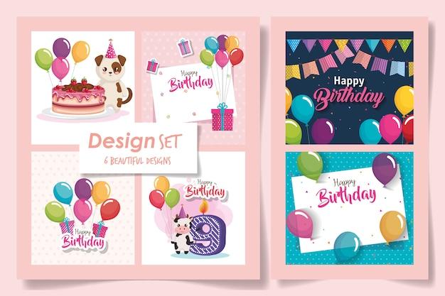 Zes kaarten gelukkige verjaardag en decoratie