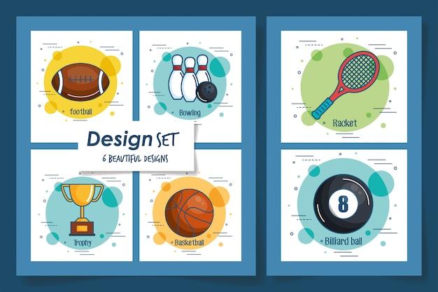 Zes kaarten van sportpictogrammen